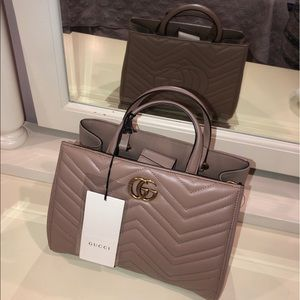 NWT Gucci Tan Lion Trap Chevron Marmont Should bag